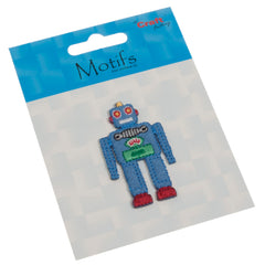 Sew On Motifs Lace Jeans Dresses Garments Appliques Patches 5 cm -Blue Robot - Hobby & Crafts