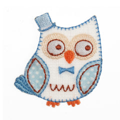 Sew On Motifs Lace Jeans Dresses Garments Appliques Patches 4.5 cm -Blue Owl - Hobby & Crafts