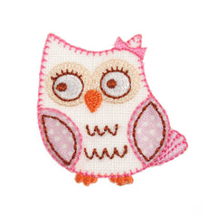 Sew On Motifs Lace Jeans Dresses Garments Appliques Patches 4.5 cm -Pink Owl - Hobby & Crafts
