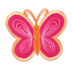 Sew On Motifs Lace Jeans Dresses Garments Appliques Patches 6 cm -Pink Butterfly - Hobby & Crafts