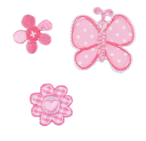 Sew On Motifs Lace Jeans Dresses Applique Patches 3.5cm -Pink Butterfly Flowers - Hobby & Crafts