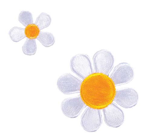 Sew On Motifs Lace Jeans Dresses Garments Appliques Patches -Two White Daisies - Hobby & Crafts