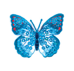 Sew On Motifs Lace Jeans Dresses Appliques Patches 4.8 cm -Blue Sequin Butterfly - Hobby & Crafts