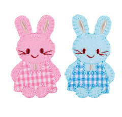 Sew On Motifs Lace Jeans Dresses Appliques Patches Craft 7 cm -Pink Blue Bunnies - Hobby & Crafts