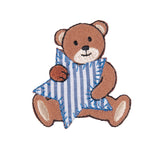 Sew On Motifs Lace Jeans Dresses Appliques Patches 5.5 cm -Bear With Stripe Star - Hobby & Crafts