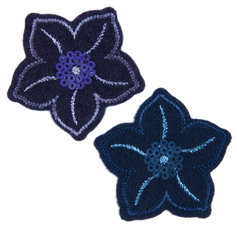 Sew On Motifs Lace Jeans Dresses Applique Patches 4.3 cm -Navy Sequined Flowers - Hobby & Crafts