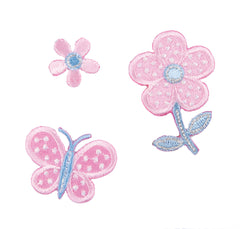 Sew On Motifs Lace Jeans Dresses Applique Patches Craft 4.5cm -Flowers Butterfly - Hobby & Crafts
