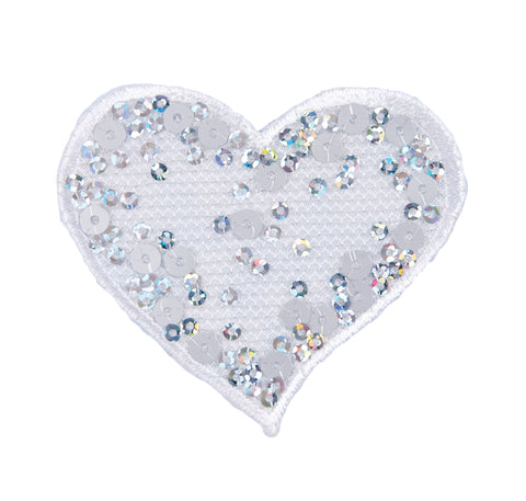 Sew On Motifs Lace Jeans Dresses Applique Patches 5.5 cm -Sequin White Heart - Hobby & Crafts