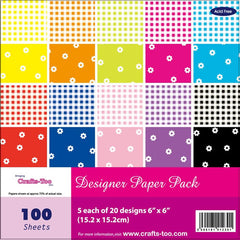 "Gingham Flowers Bright Colourful Thick Papers Assorted 100 Sheets 6""x 6"" Pad"