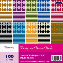 "Harlequin Stripes Bright Colourful Thick Papers Assorted 100 Sheets 6""x 6"" Pad"