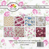 "Dixi Craft 8 Designs Paper Pack 6"" Card Making - RETRO FLOWERS AS SEEN ON TV - Hobby & Crafts"