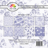 "Dixi Craft 8 Designs Paper Pack 6"" 32 Sheets RETRO FLOWERS LAVENDER AS SEEN ON TV - Hobby & Crafts"