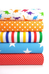 Fabric Bundles Fat Quarters Polycotton Material Dinosaurs Spots Stars Children Craft