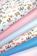 Fabric Bundles Fat Quarters Polycotton Material Farmyard Pink Blue Gingham Children Craft