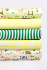 Fabric Bundles Fat Quarters Polycotton Material Farmyard Green Yellow Gingham Children Craft