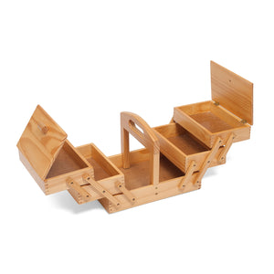 SALE - Traditional 3 Tier Wooden Cantilever Sewing Storage Box - 31cm