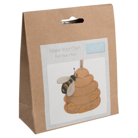 Trimits Pre-Punched Shaped Acrylic Felt Kit For Beginners 10cm x 10cm - Bee Hive