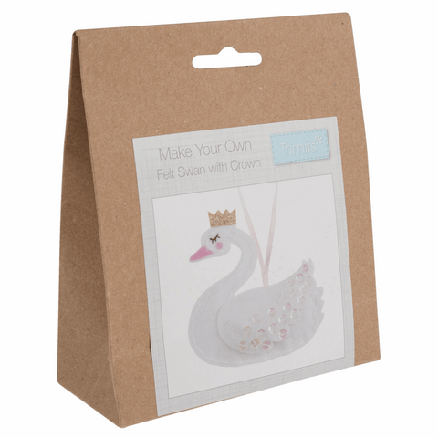 Trimits Pre-Punched Shaped Acrylic Felt Kit For Beginners 10 x 9.5cm - Swan with Crown