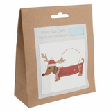 Trimits Pre-Punched Shaped Acrylic Felt Kit For Beginners 4.5 x 11.6cm -Festive Dachshund