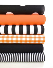 Geometric Fabric Bundles Fat Quarters Polycotton Material Gingham Spots Craft - BLACK ORANGE
