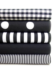Geometric Fabric Bundles Fat Quarters Polycotton Material Gingham Spots Craft - BLACK