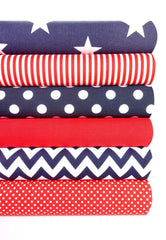 Geometric Fabric Bundles Fat Quarters Polycotton Material Stars Spots Craft - NAVY RED