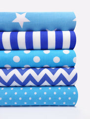 Fabric Bundles Fat Quarters Polycotton Material Blue Geometrics Spots Children Craft