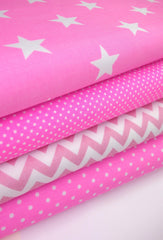 Fabric Bundles Fat Quarters Polycotton Material Pink Geometrics Stars Spots Children Craft