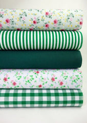 Fabric Bundles Fat Quarters Polycotton Material Florals Gingham Stripes Craft - GREEN