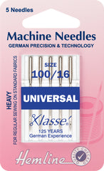 Hemline Universal Machine Needles Heavy 100 / 16 - Hobby & Crafts