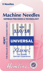 Hemline Universal Machine Needles Heavy 110 / 18 - Hobby & Crafts