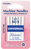 Hemline Universal Machine Needles Extra Fine - Size 60 / 8 - Hobby & Crafts