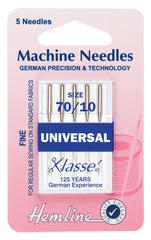 Hemline Universal Machine Needles Fine - Size 70 / 10 - Hobby & Crafts