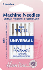 Hemline Universal Machine Needles Fine / Medium - Size Size 75 / 11. - Hobby & Crafts