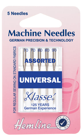 Hemline Universal Machine Needles Mixed Sizes - 70, 80, 90 - Hobby & Crafts