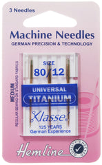 Hemline Universal Machine Needles Titanium Medium 80 / 12 - Hobby & Crafts