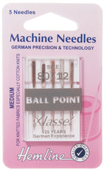 Hemline Ball Point Sewing Machine Needles Medium - 80 /12 - Hobby & Crafts