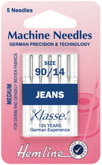 Hemline Sewing Machine Needles Jean Medium 90/14 - Hobby & Crafts