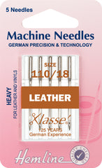Hemline Sewing Machine Needles Leather Heavy - 110/18 - Hobby & Crafts