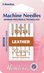 Hemline Sewing Machine Needles Leather Medium - 90/14 - Hobby & Crafts