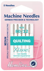 Hemline Sewing Machine Needles Quilting Medium 80 / 12 - Hobby & Crafts