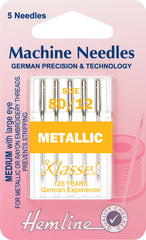 Hemline Metalfil Sewing Machine Needles medium - 80 - Hobby & Crafts