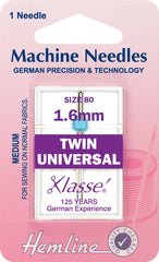 Hemline Universal Machine Needles Twin - 80/12 - 1.6mm. - Hobby & Crafts