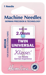 Hemline Universal Machine Needles, Twin - 80/12 / 2.0mm - Hobby & Crafts