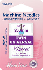 Hemline Universal Machine Needles, Twin - 80/12/ 3.0mm - Hobby & Crafts