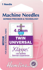 Hemline Universal Machine Needles, Twin - 80/12/4.0mm - Hobby & Crafts
