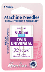 Hemline Universal Machine Needles, Twin - 802 - 6.0mm - Hobby & Crafts