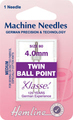 Hemline Sewing Machine Needles Ball Point Twin - 4.0mm - Hobby & Crafts