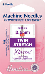 Hemline Sewing Machine Needles Ball Point Twin Stretch - 2.5mm - Hobby & Crafts