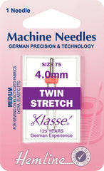 Hemline Sewing Machine Needles Twin Stretch - 4mm - Hobby & Crafts